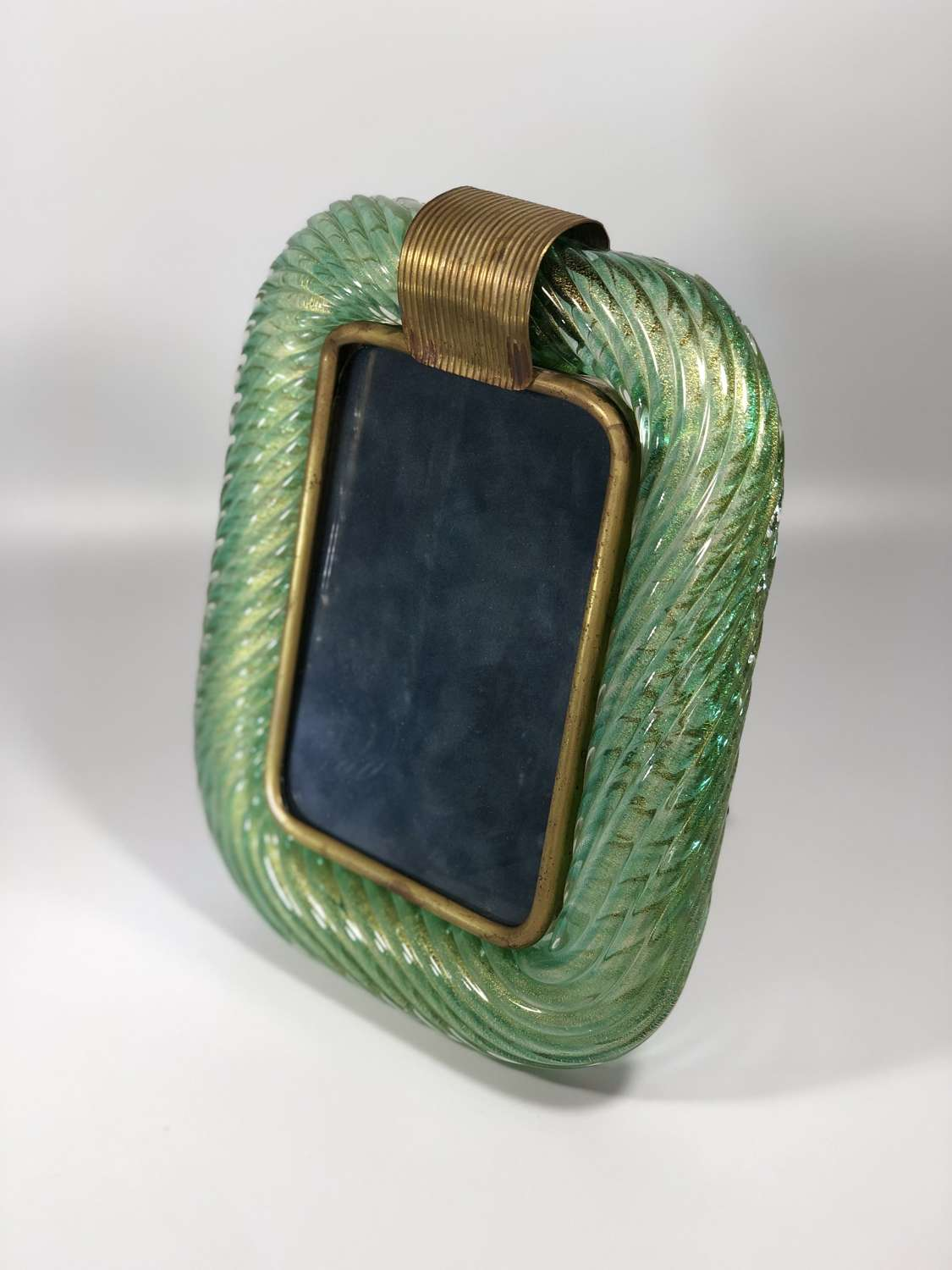 Murano Venini twisted glass and brass photograph frame