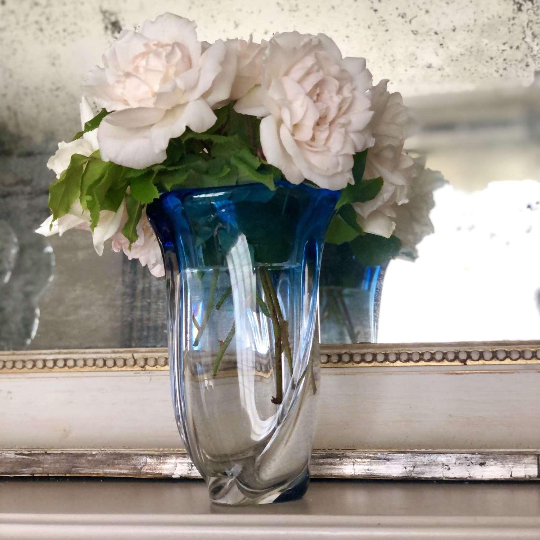 Val Saint Lambert blue crystal fade vase
