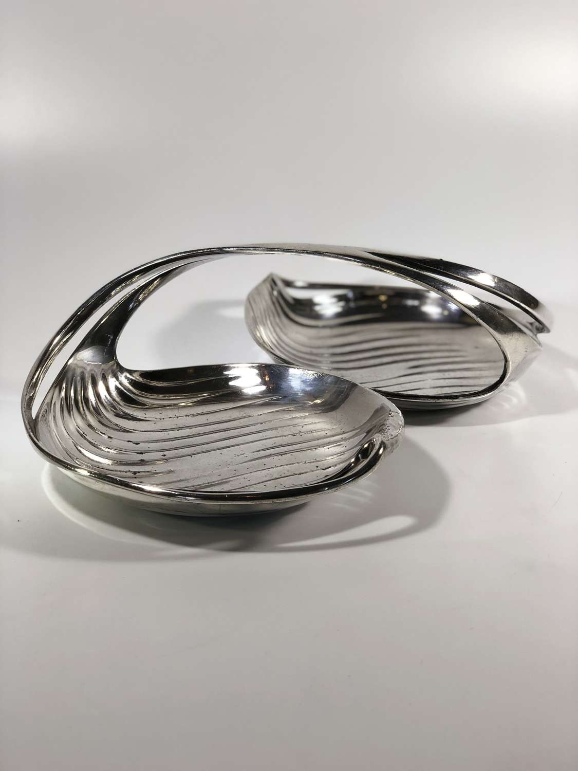 Christofle Gallia silver plated duo serving dish