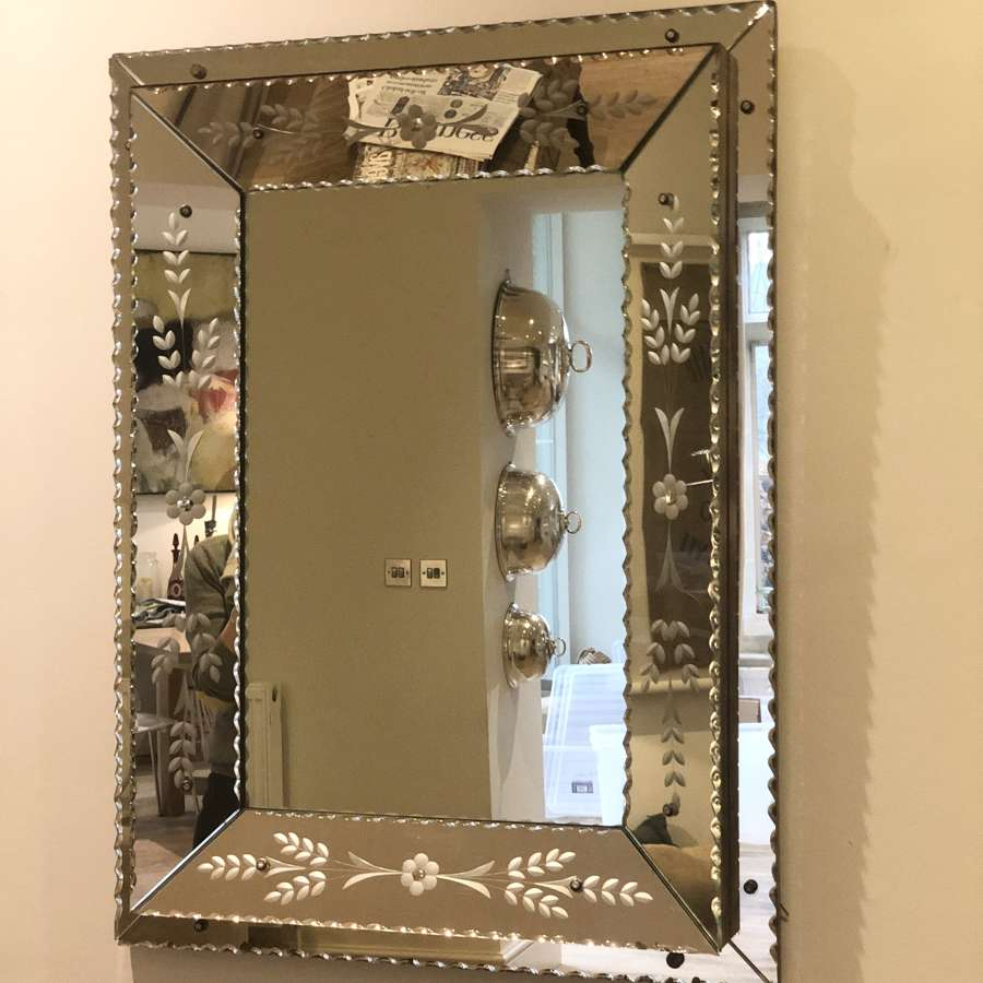 1930s Venetian etched and scalloped edged mirror