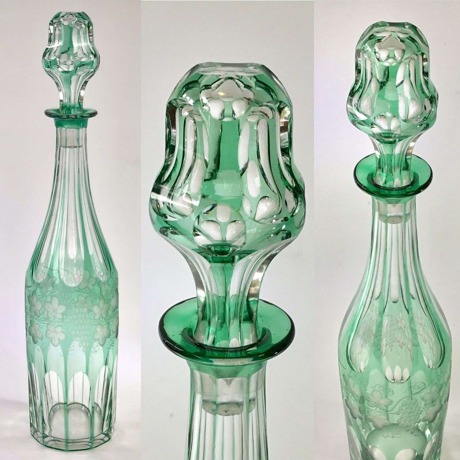 19th Century cut to clear glass decanter