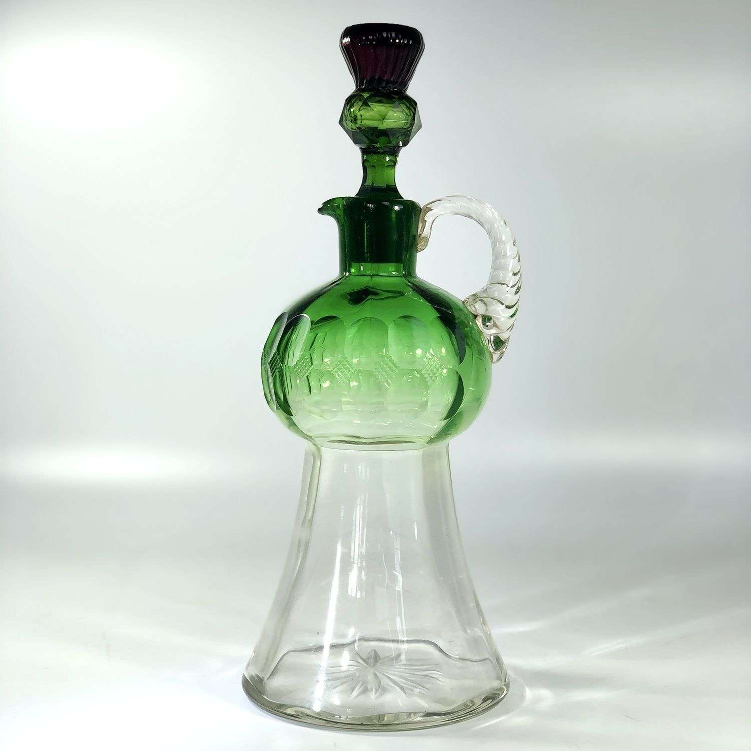 Superb 19th Century green and purple cut glass Thistle decanter