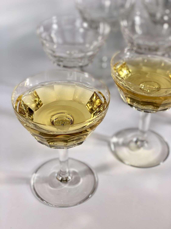 8 Val Saint Lambert crystal champagne saucers