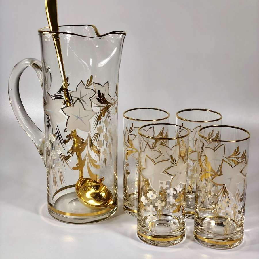 Mid Century gold and enamel cocktail set