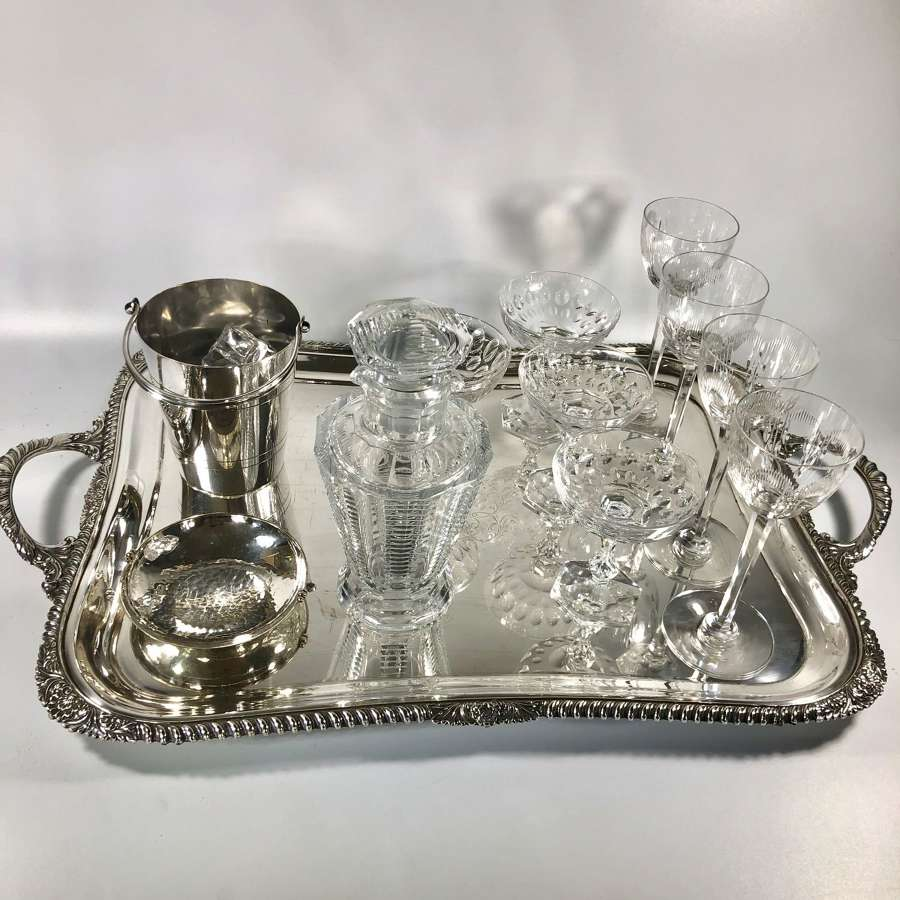Large Victorian silver plated twin handled serving tray