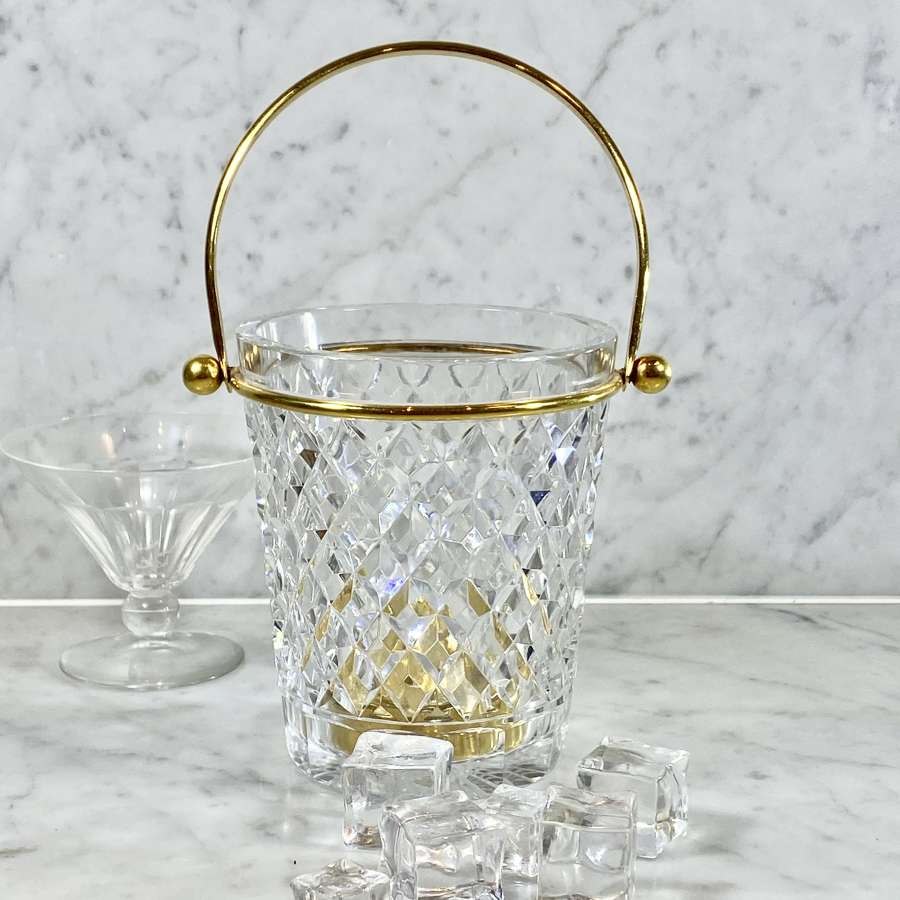 Val Saint Lambert crystal swing handle ice bucket 1960s
