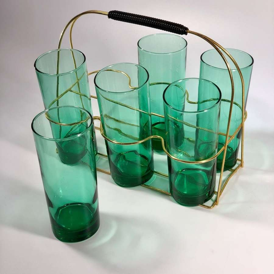 Mid 20th Century tall glass tumblers and carrying caddy
