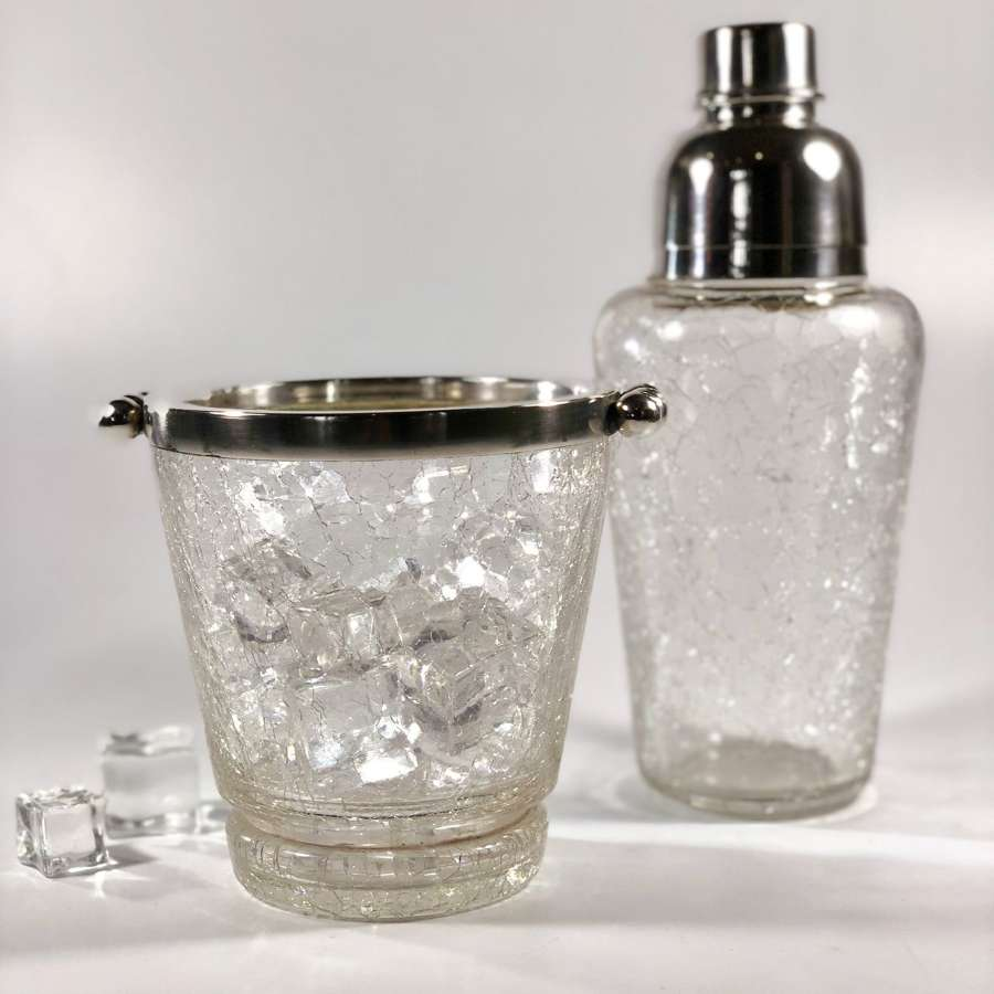 Crackle glaze cocktail shaker & ice bucket set