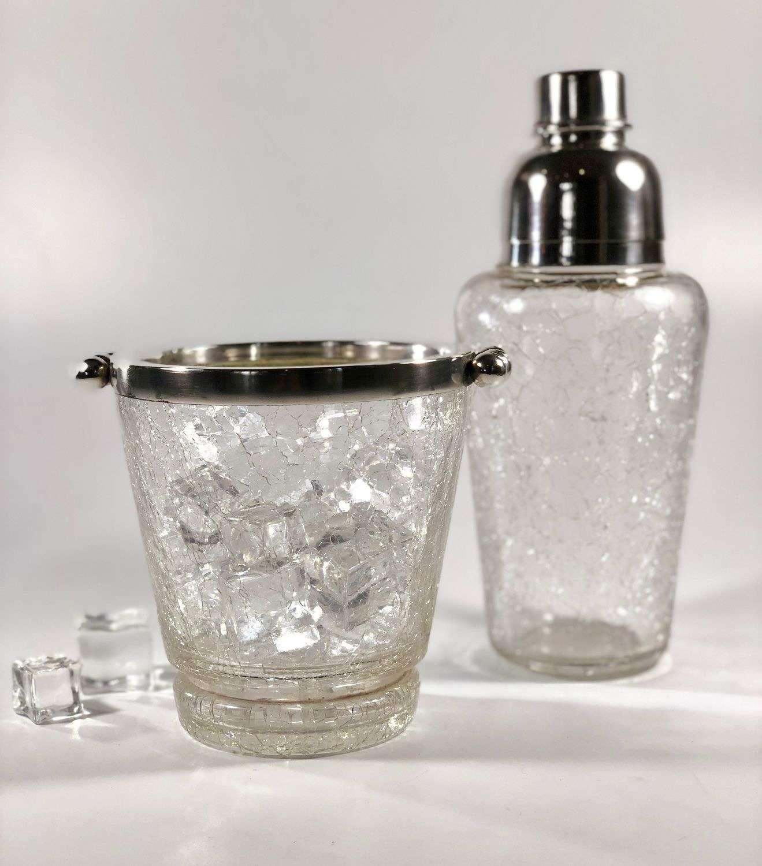 Crackle glaze cocktail shaker & ice bucket set