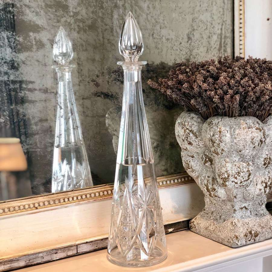 Tall 1930s Pyramid decanter by Val Saint Lambert