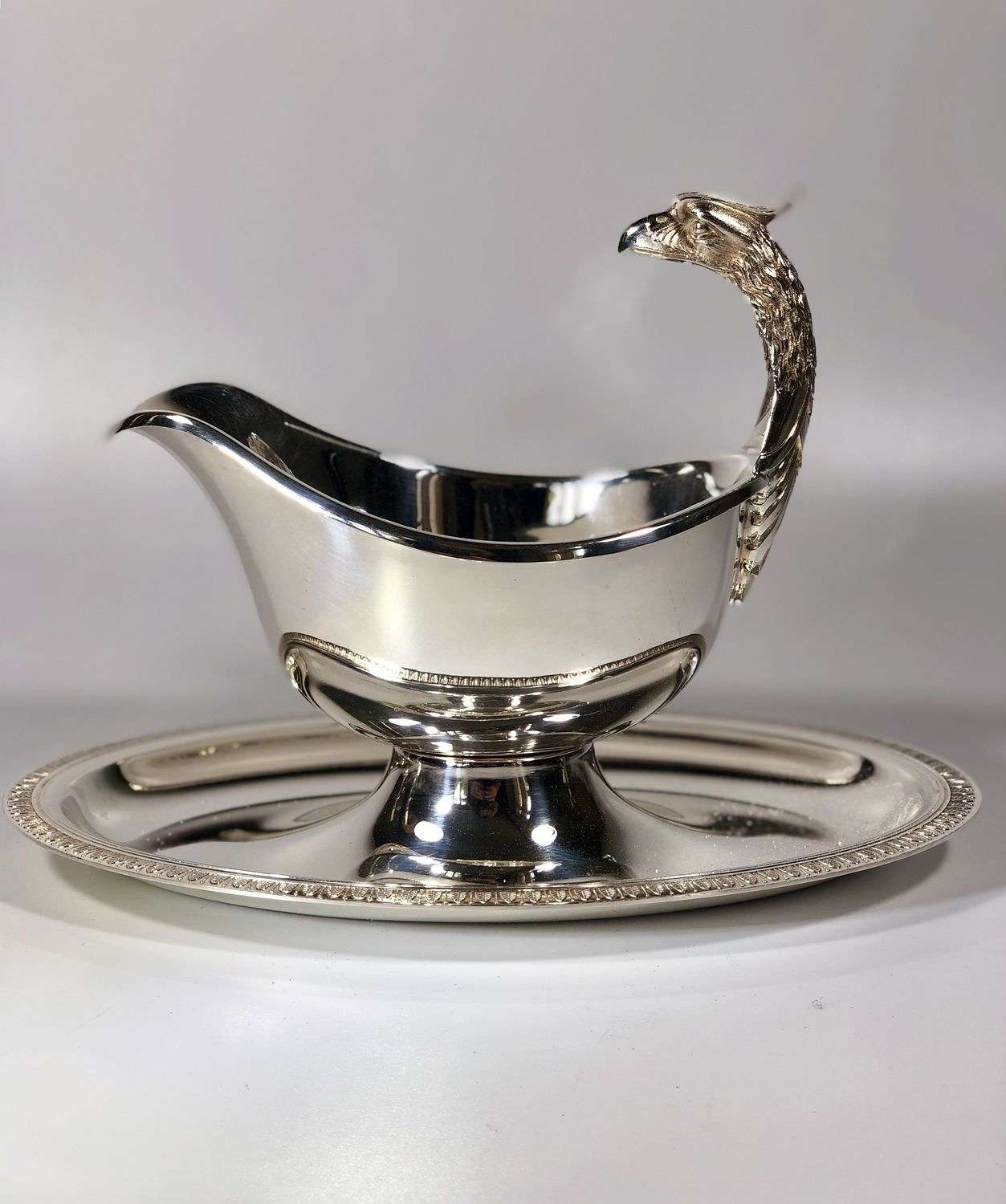 Christofle Malmaison silver plated gravy boat and tray