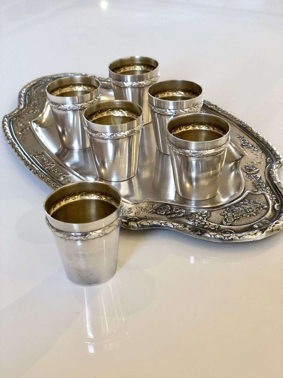 French tot liqueur set and tray