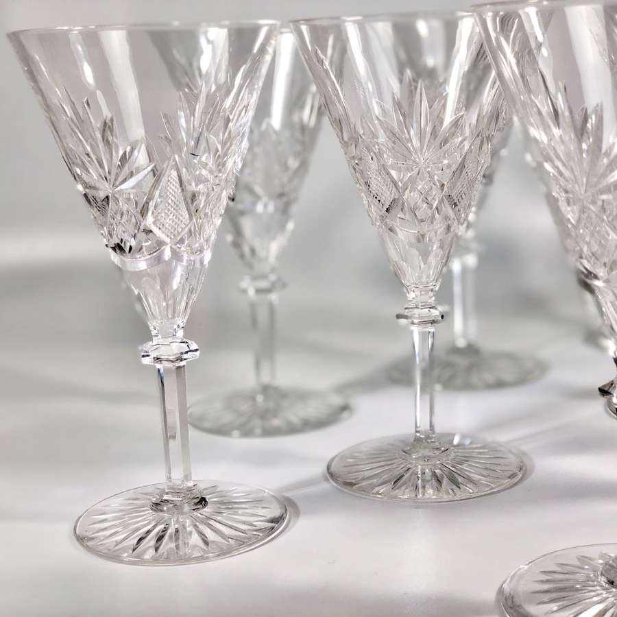 11 Val Saint Lambert Eurydice crystal wine glasses