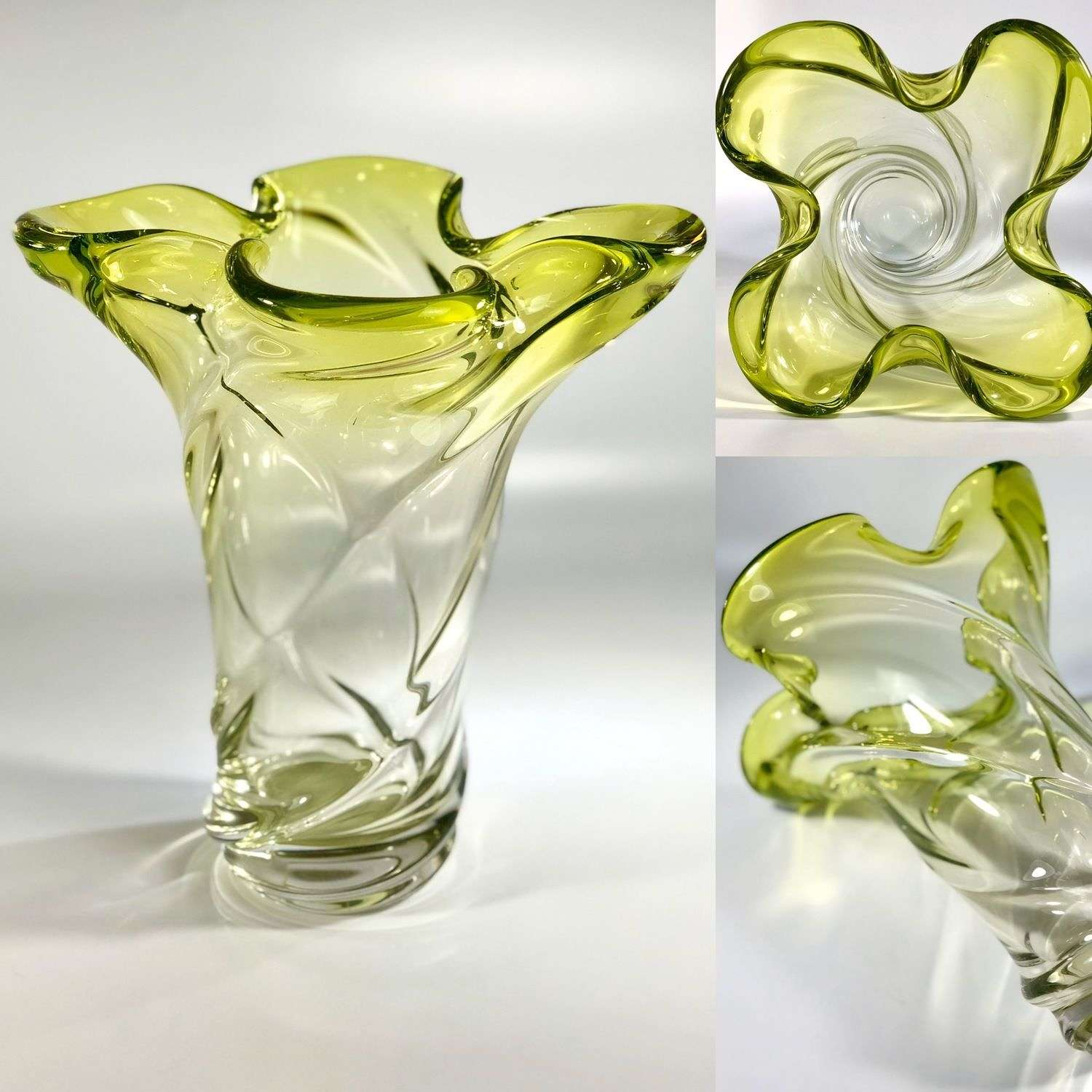 Stunning green fade quatrefoil French crystal vase