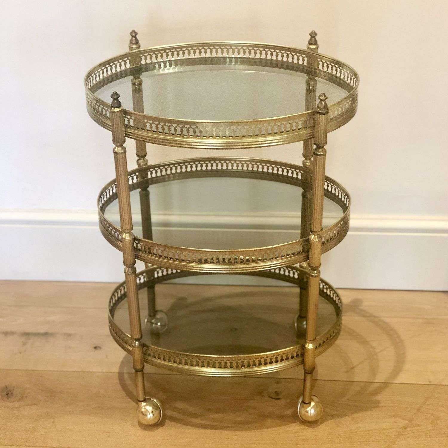 Oval Mid 20th Century brass cocktail trolley