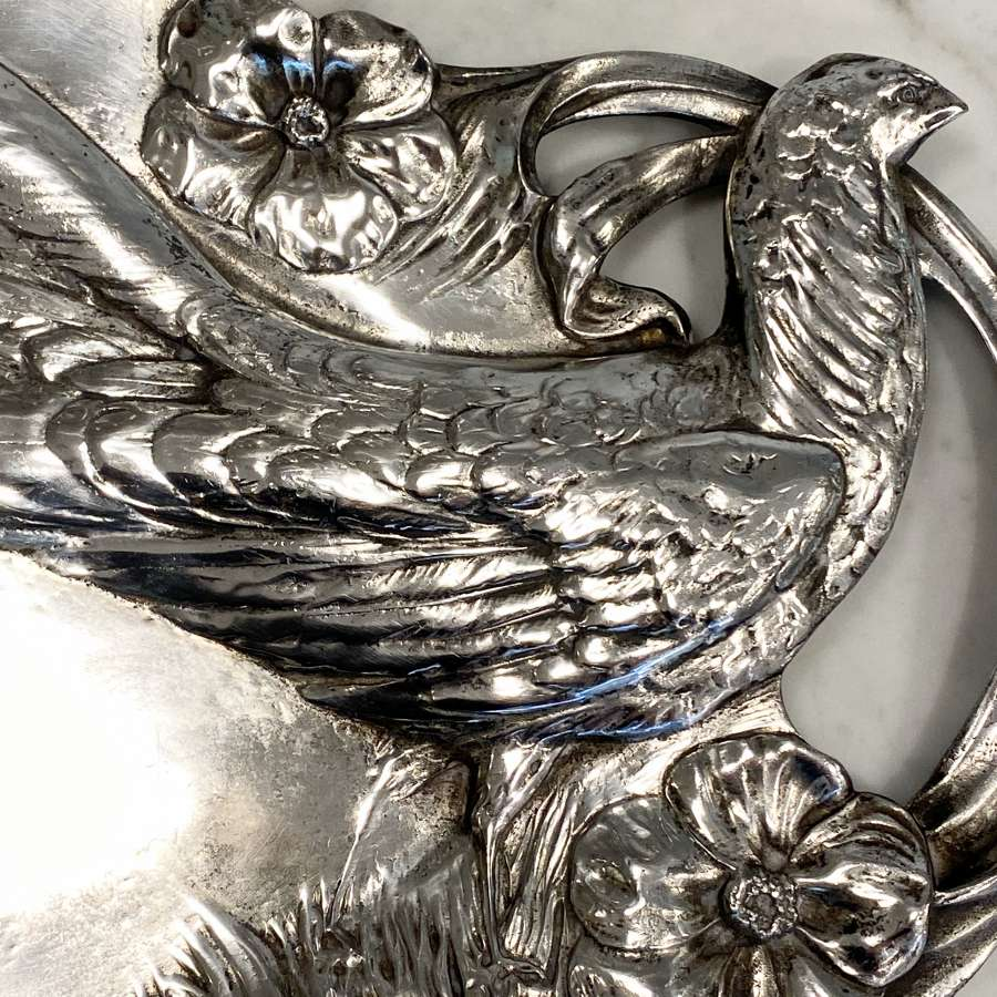 Art Nouveau large silver plated pheasant tray