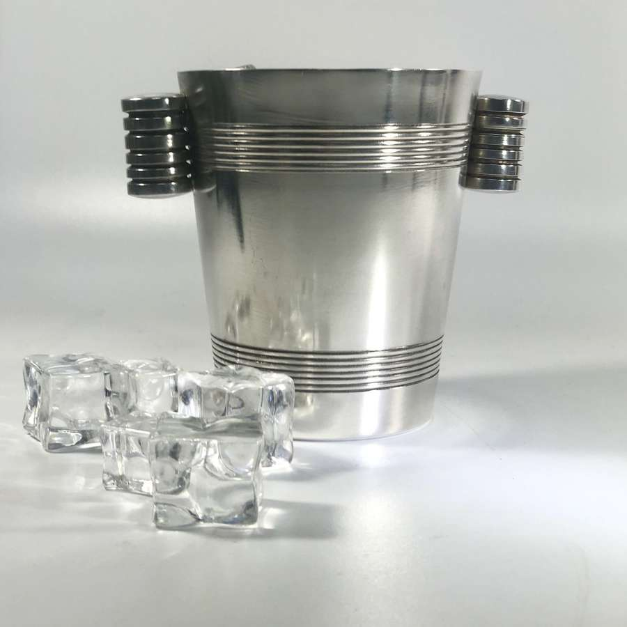 French Art Deco silver plated ice bucket