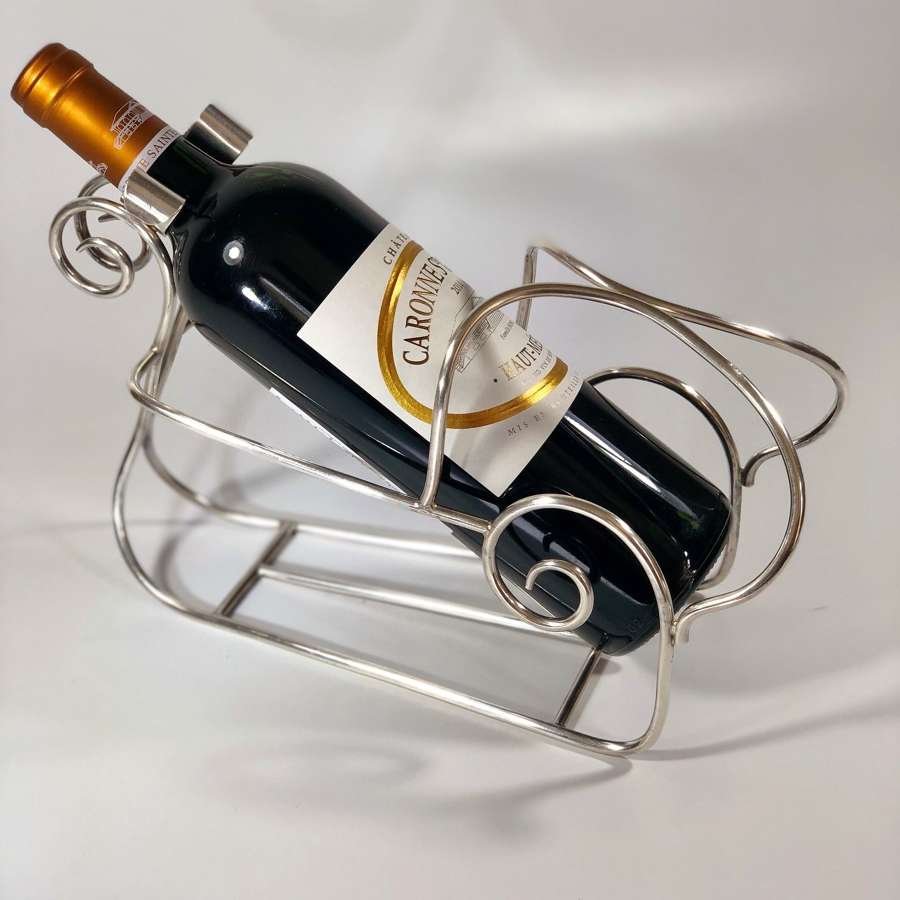 French silver plated wine cradle pourer