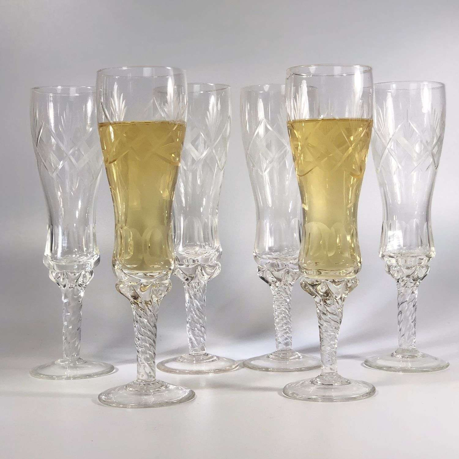 Large French champagne flutes with twisted stems
