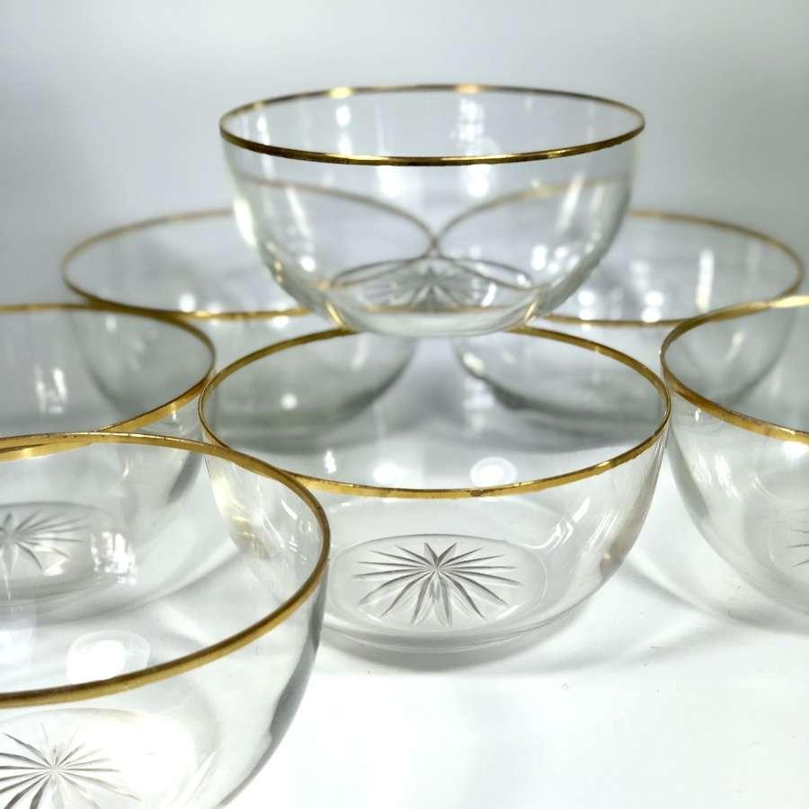 Pretty gold rimmed 19th Century bowls