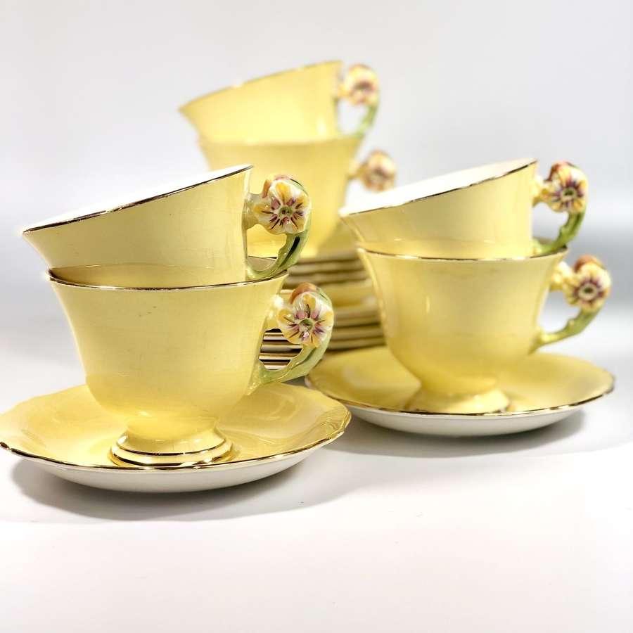 Art Deco flower handled tea set for six