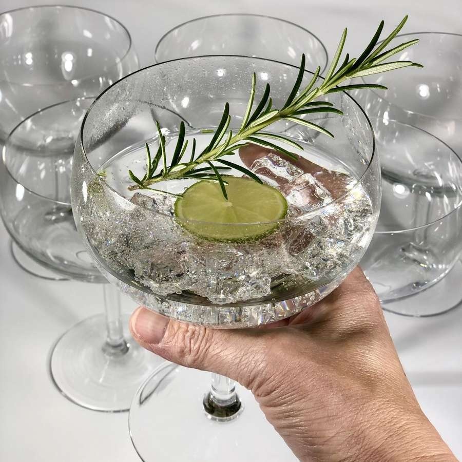 Giant glass goldfish bowl goblets Circa 1950s