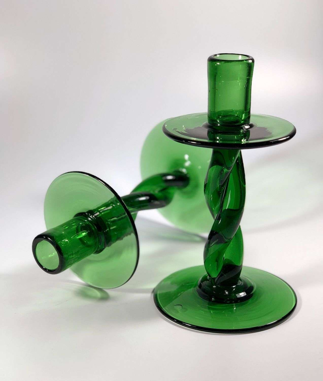 Pair of chunky green glass twisted candlesticks 1970s