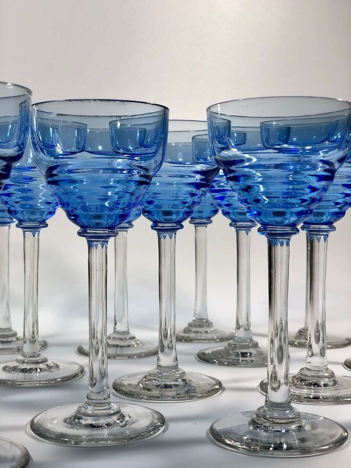 8 Art Deco blue Uranium tall stem small cocktail glasses