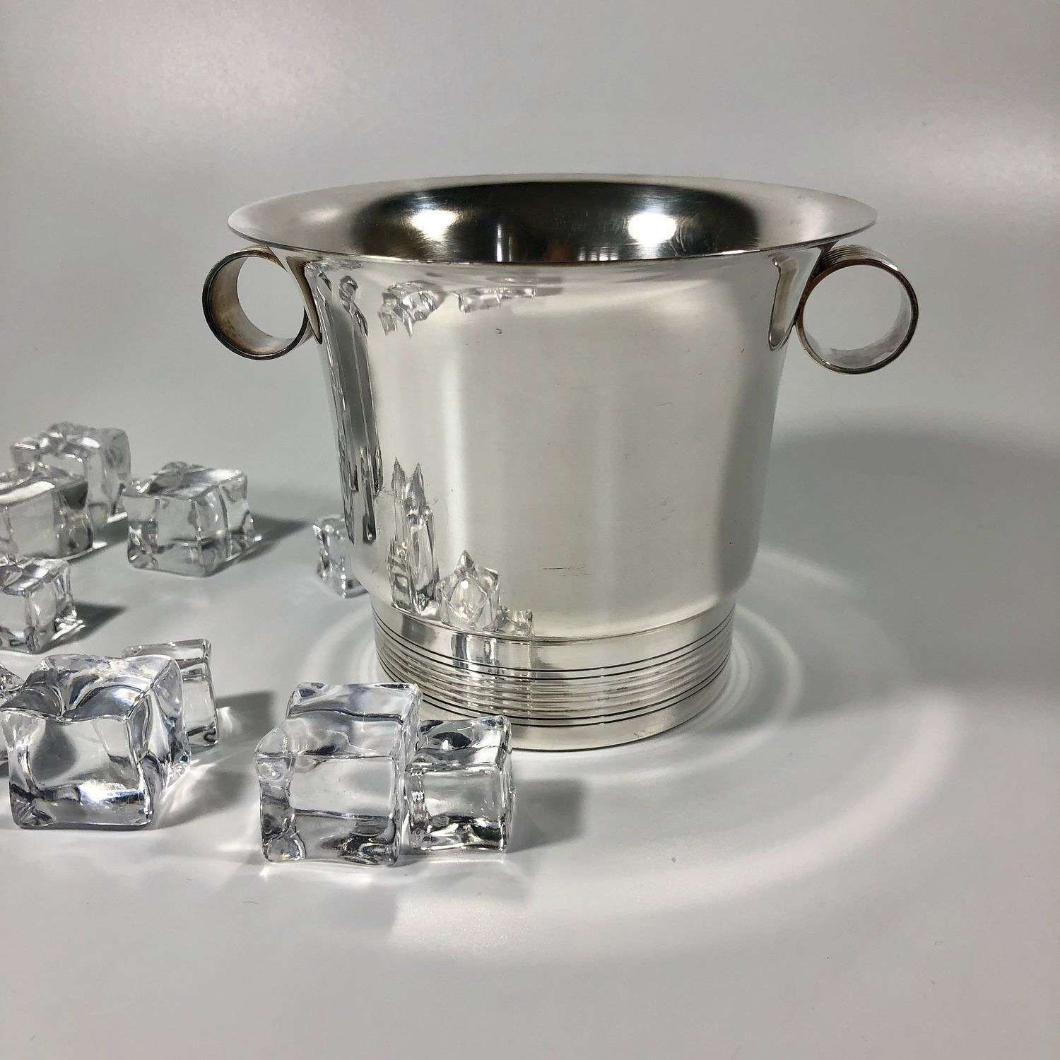 French Art Deco silver plated ice bucket with scroll handles