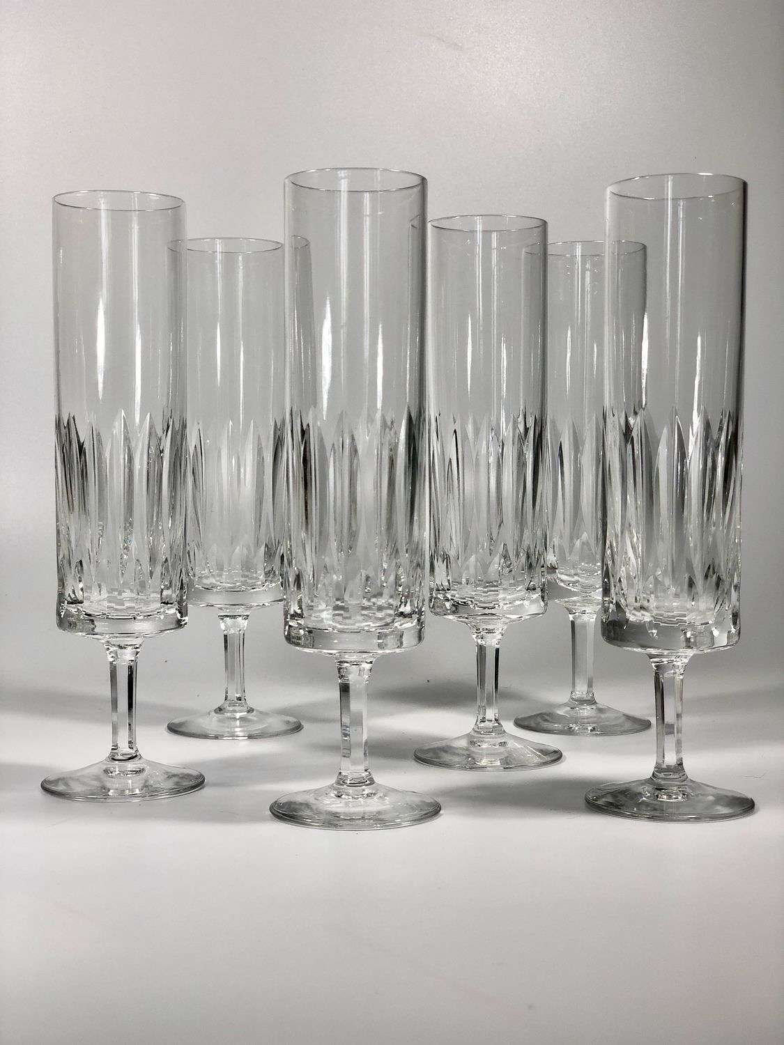 Six French crystal champagne flutes 1960s