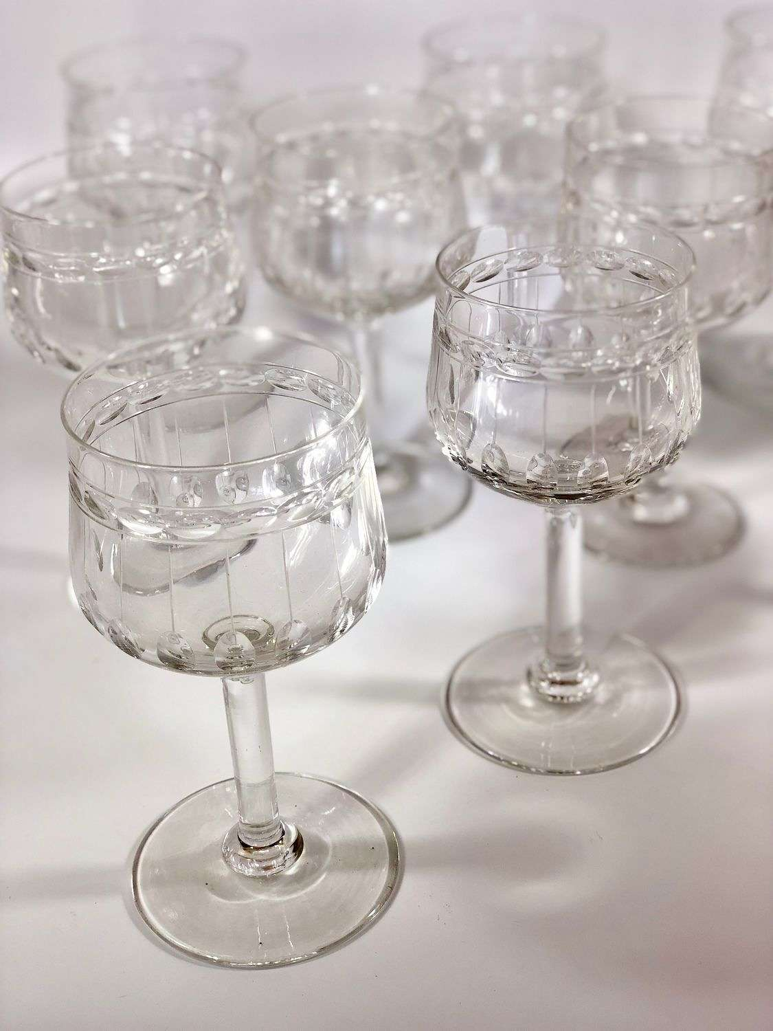 10 Val Saint Lambert crystal wine glasses