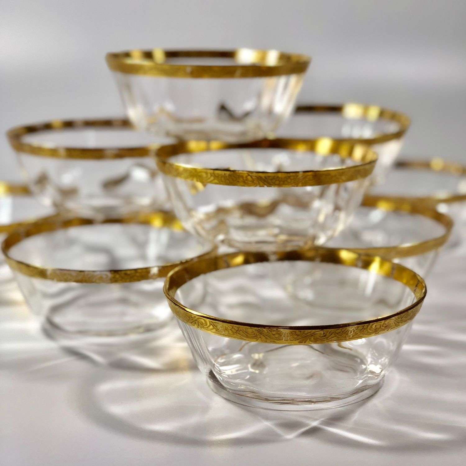 Set of 19th Century gold and optic glass bowls