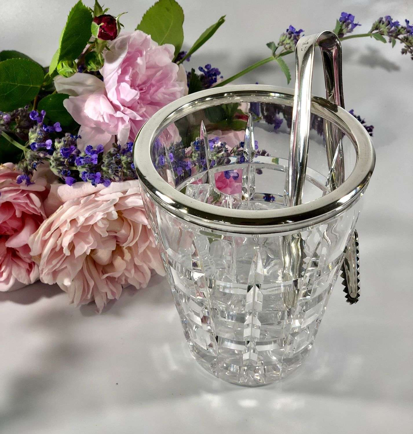 Hallmarked silver and crystal ice bucket