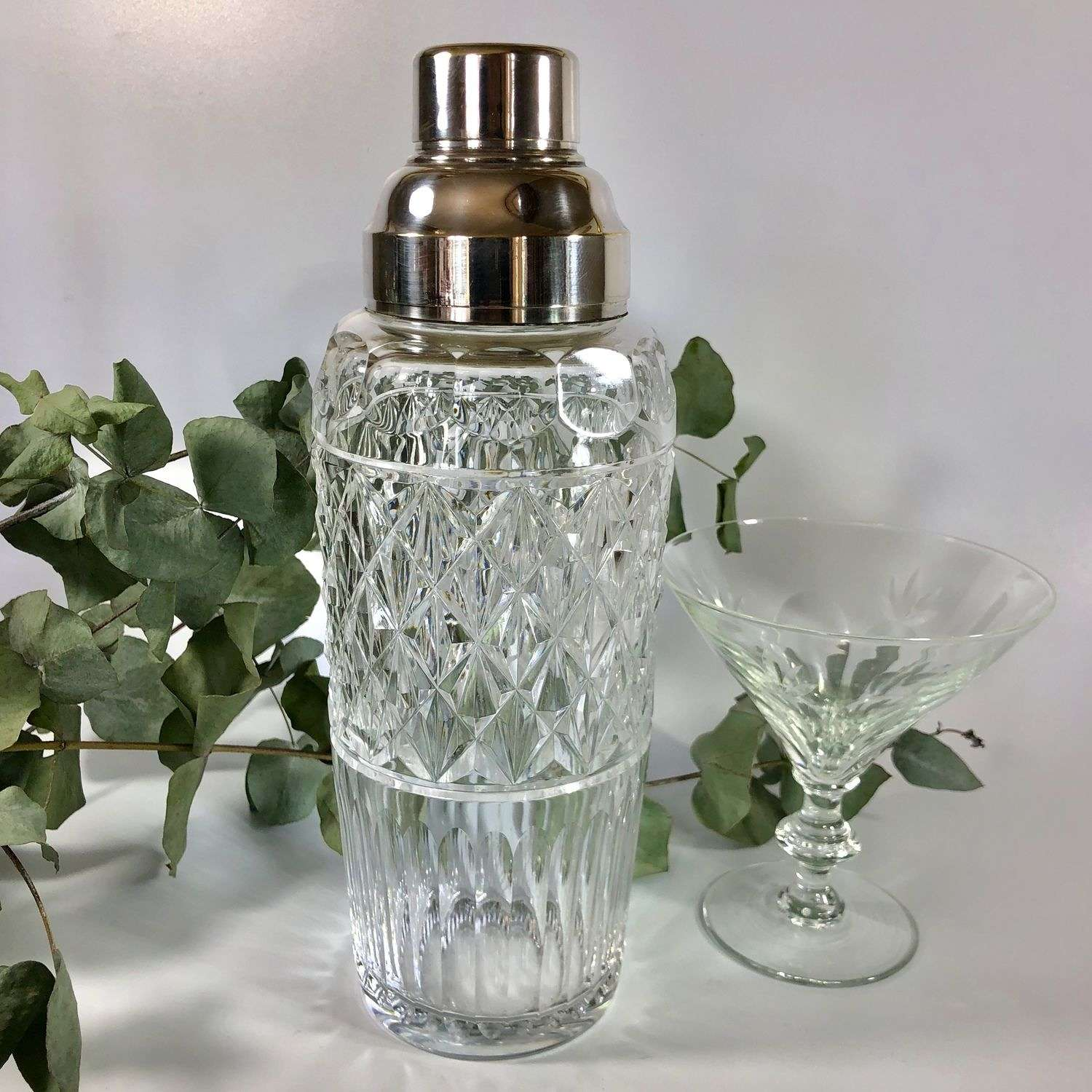 Val Saint Lambert crystal cocktail shaker