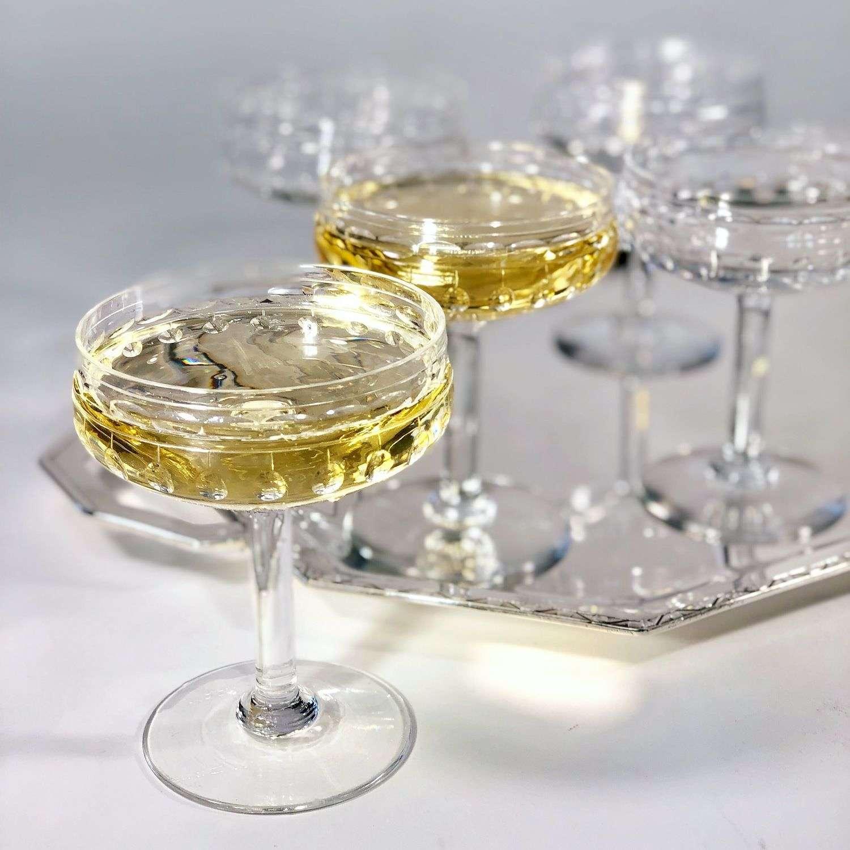 8 Val Saint Lambert crystal champagne coupes