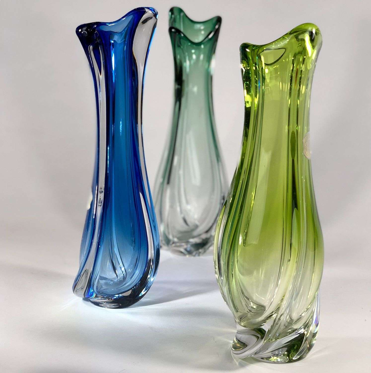Trio of Val Saint Lambert tall crystal vases