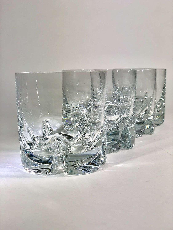 Four chunky Mid Century crystal tumblers