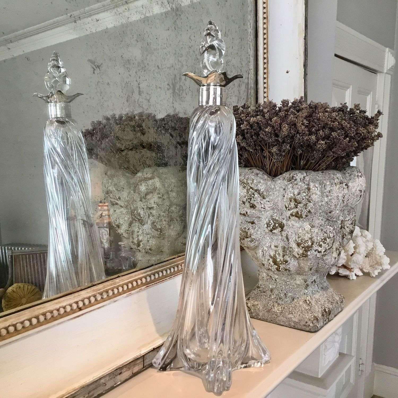 Art Nouveau silver collar twisted glass decanter