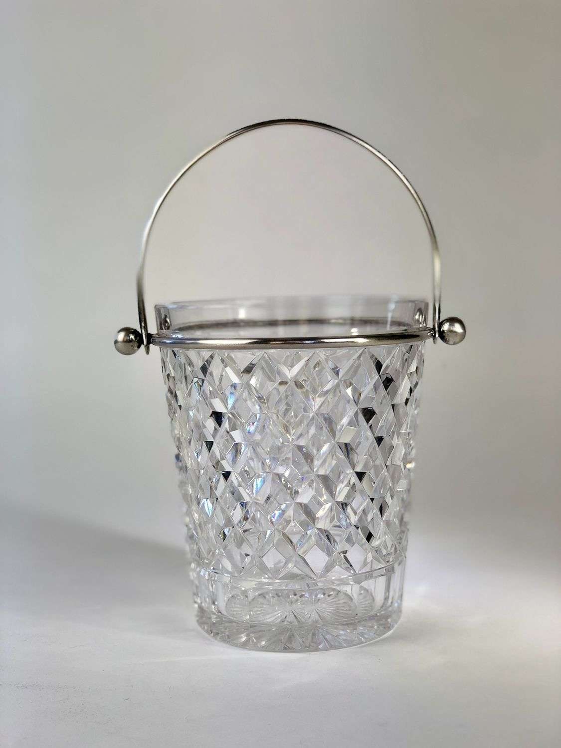 Pretty cut glass and silver plated ice bucket 1950s