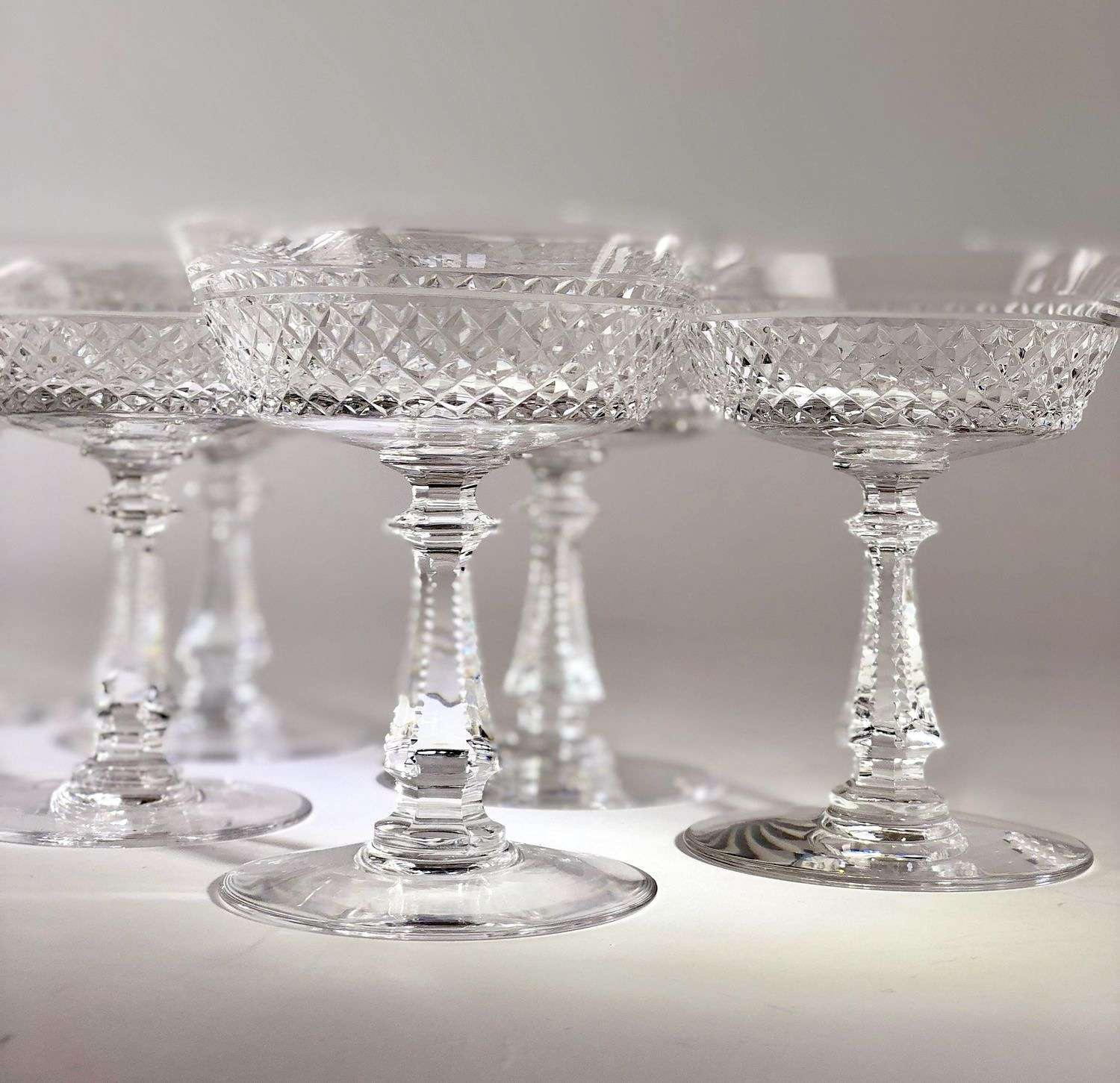 Finest Val Saint Lambert crystal champagne coupes