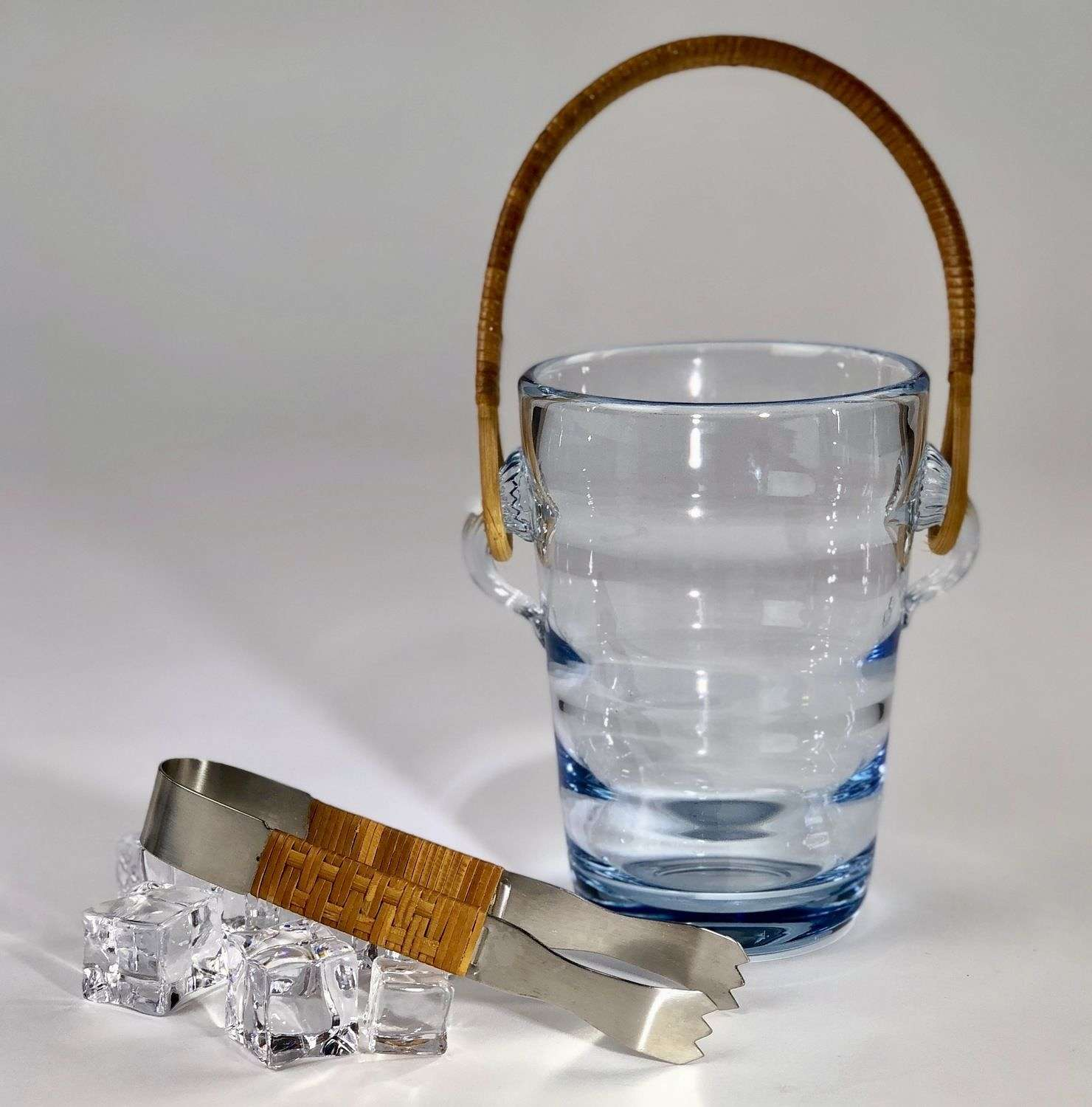 Signed Holmegaard ice bucket and tongs 1960s