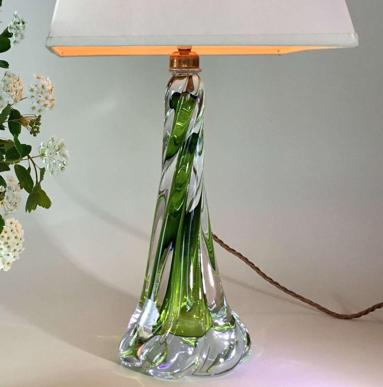 Val Saint Lambert twisted crystal lamp