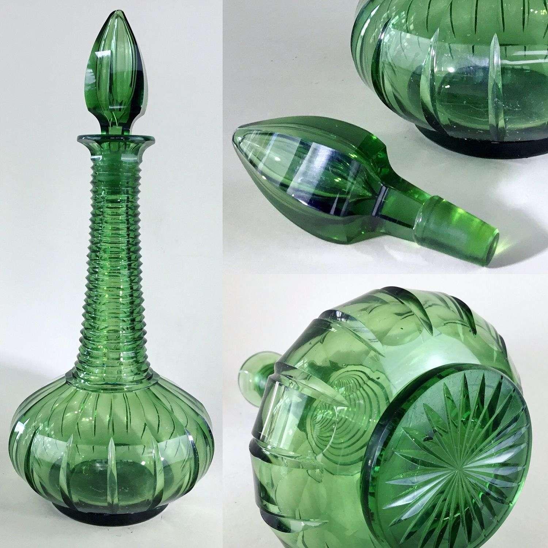 Rare green Victorian cut glass spire decanter Circa 1840s