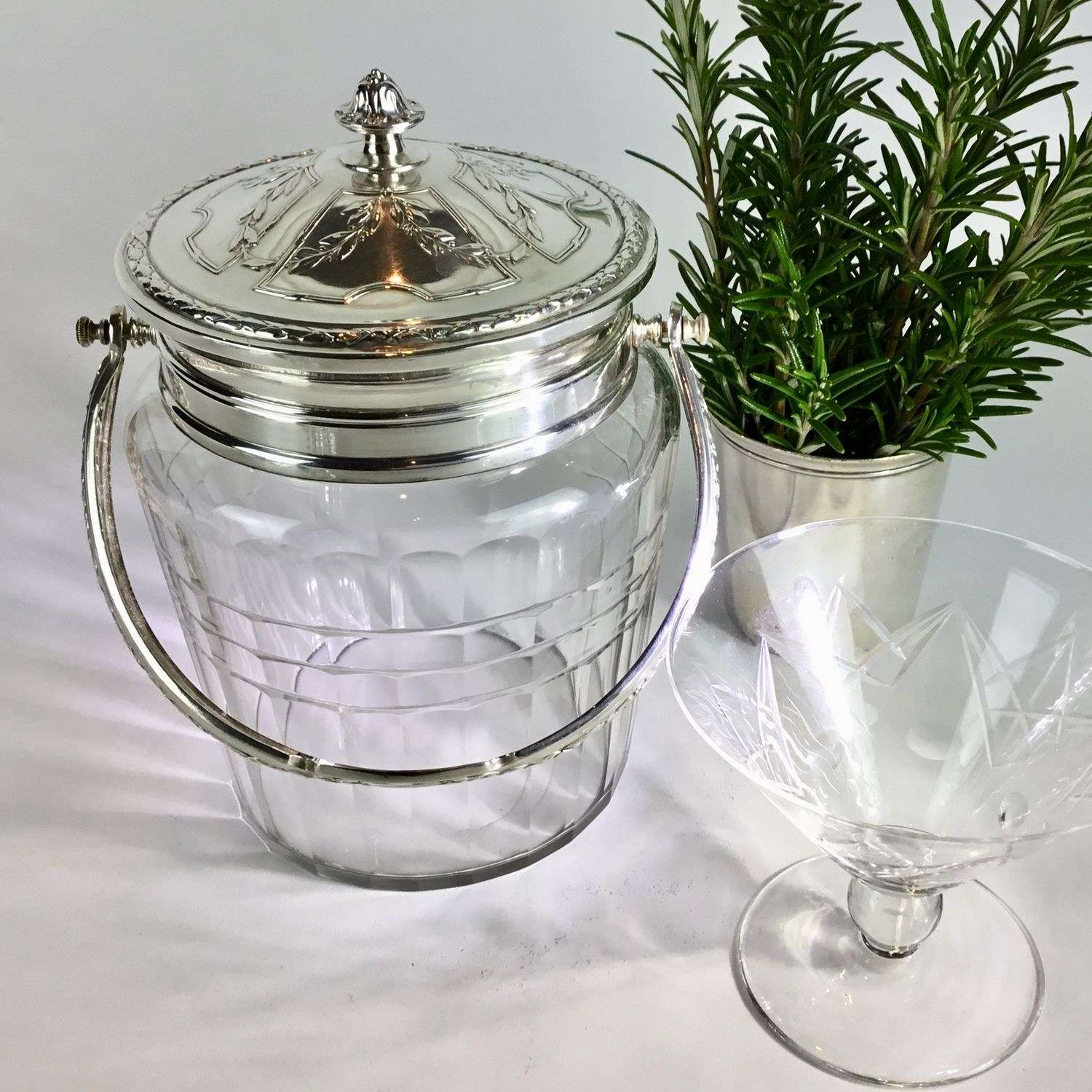 Rare French Art Nouveau Christofle Gallia silver plated biscuit barrel