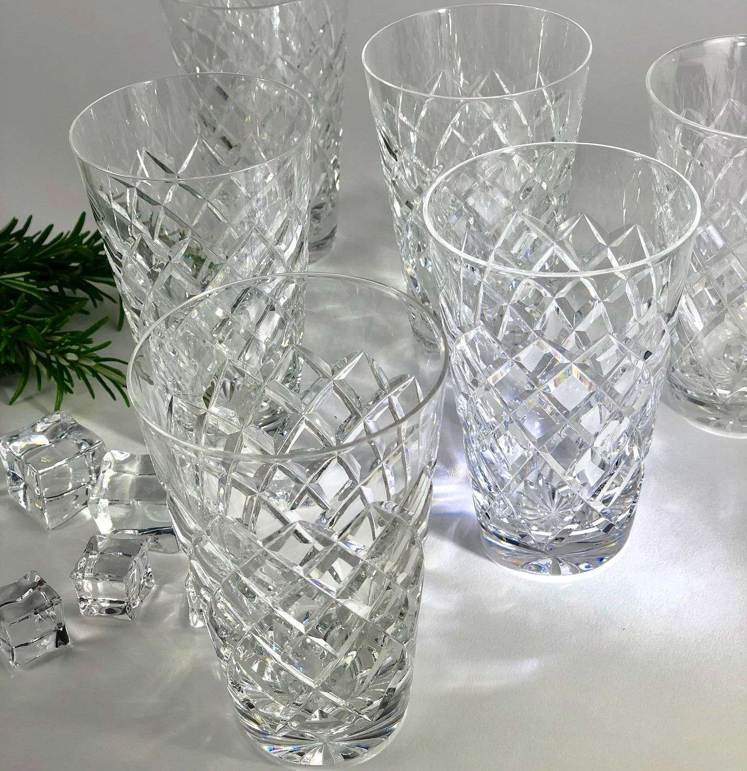 Six crystal whiskey tumblers by Val Saint Lambert