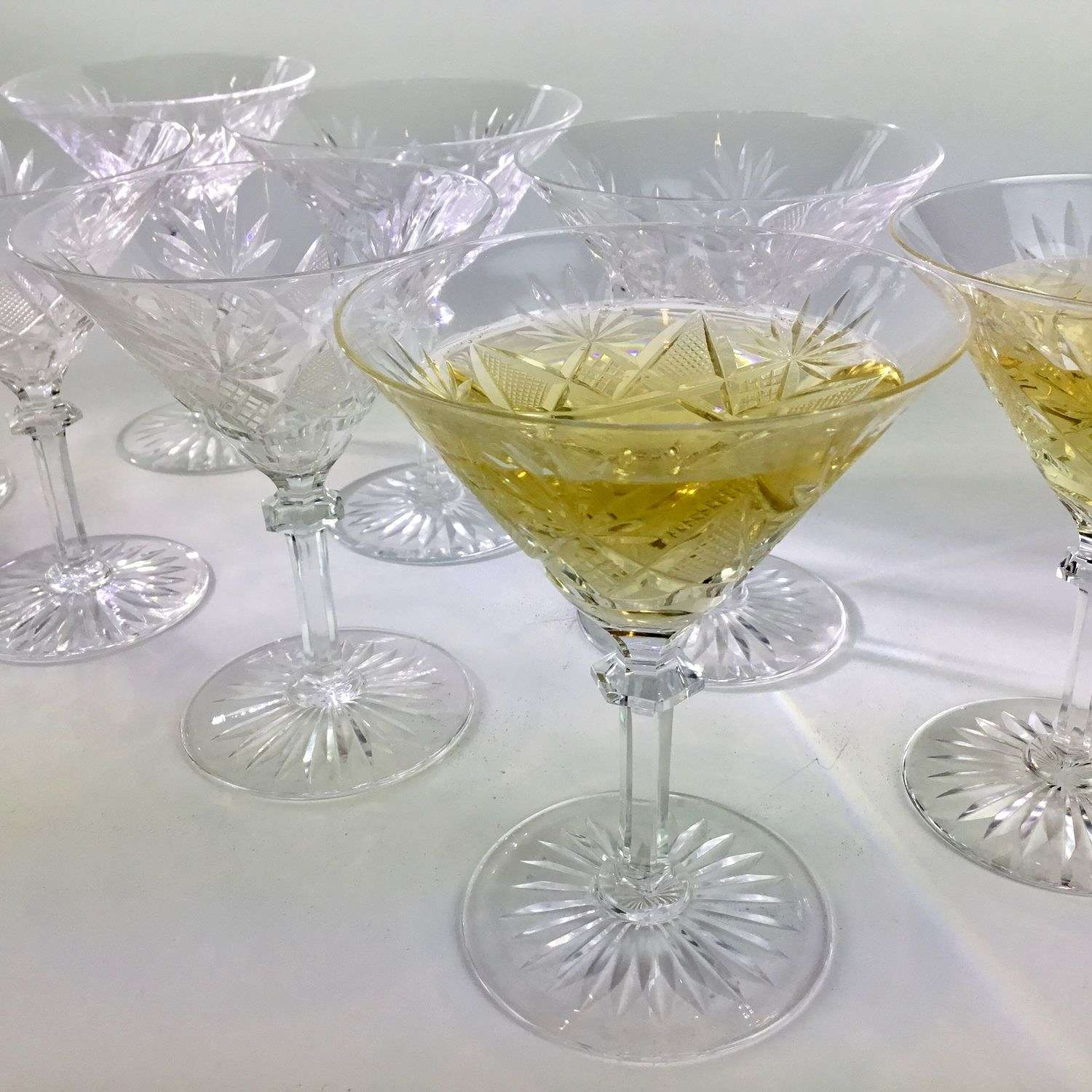 A spectacular set of Val Saint Lambert crystal Martini glasses