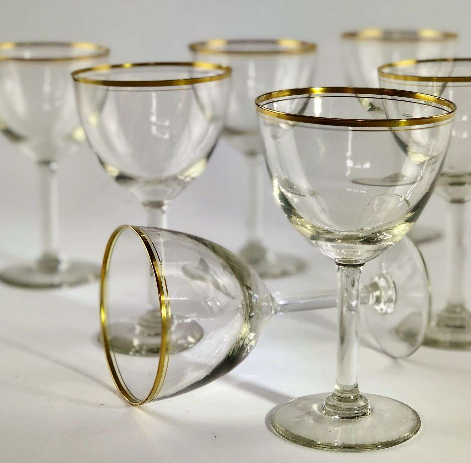 Smart set of 20th Century gold rimmed wine goblets