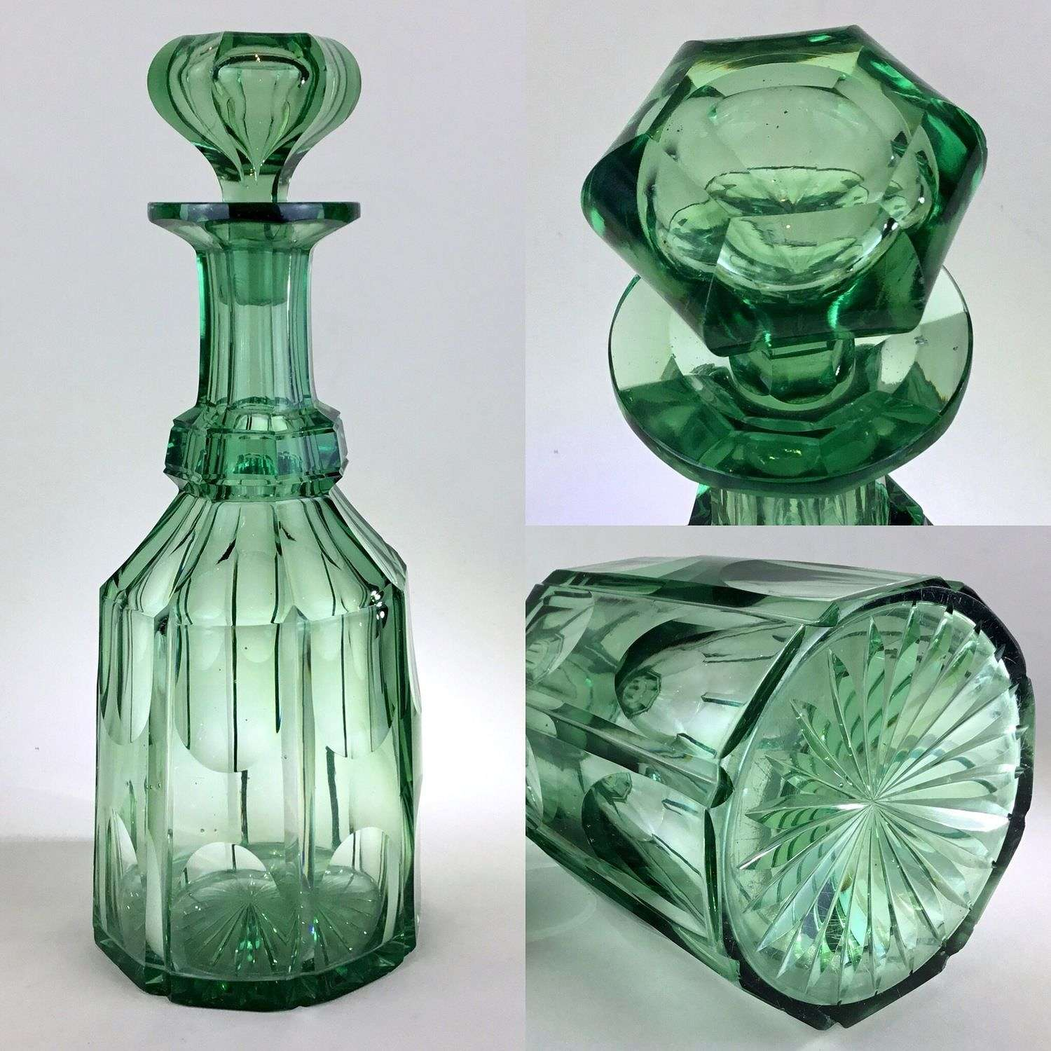 Slice cut green Victorian mallet shaped decanter