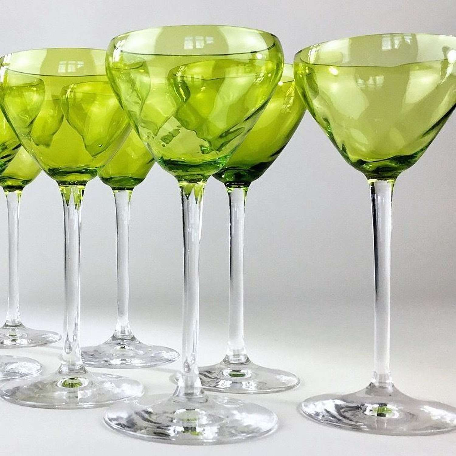 Early 20th Century chartreuse crystal tall stem glasses