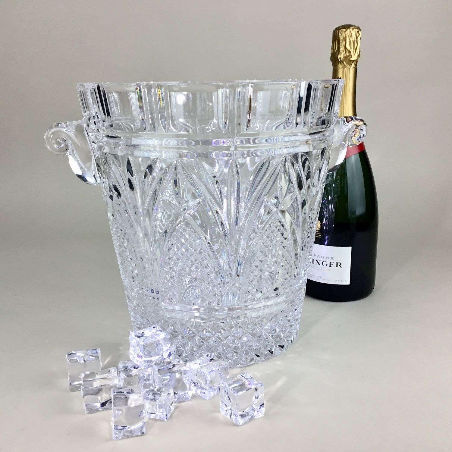 Super heavy cut glass wine cooler vase